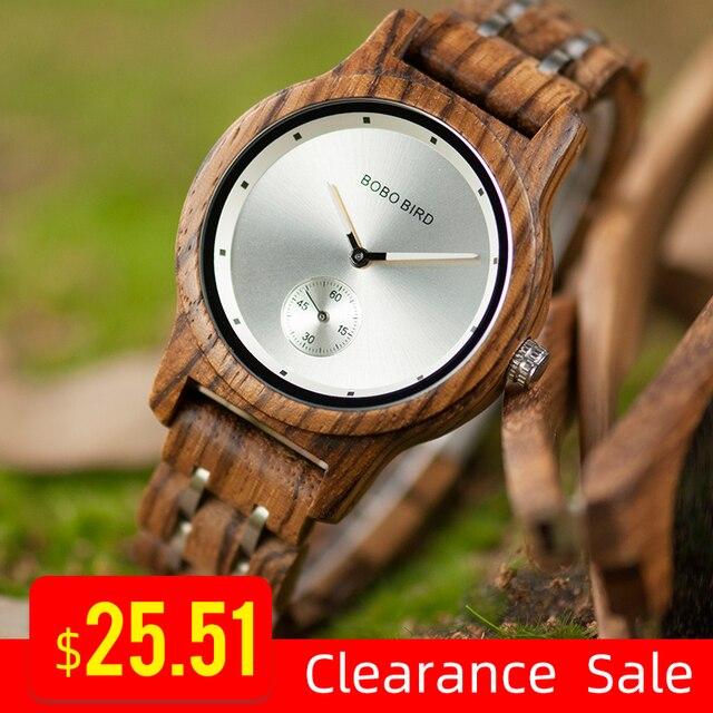 Promosyon BOBOBIRD İzle şık ahşap Chronograph saatler ahşap kuvars kol saati en iyi hediye kutusu relogio masculino VQ18