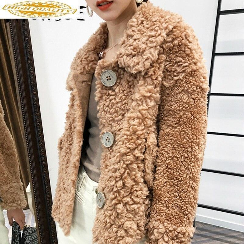Sheep Shearing Real Fur Coat 100% Wool Jacket Women Korean Vintage Autumn Winter Coat Women Clothes 2019 Fur Top PT9070 YY1945