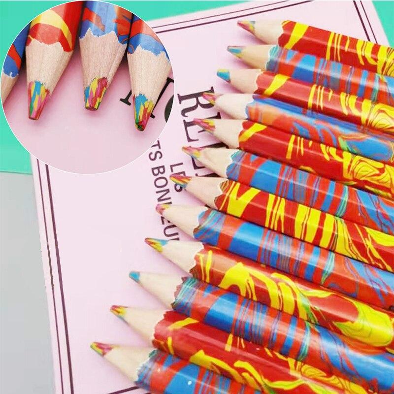 4 unids/lote 4 en 1 arco iris lápices de madera de arte lápiz de color para los niños de dibujo DIY plumas de grafiti Multicolor lápiz papelería lindo