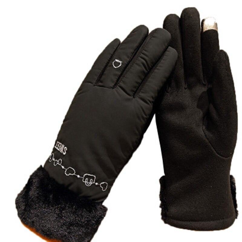 Winter PU ladies fur collar touch screen plus velvet thickening bike windproof warm gloves