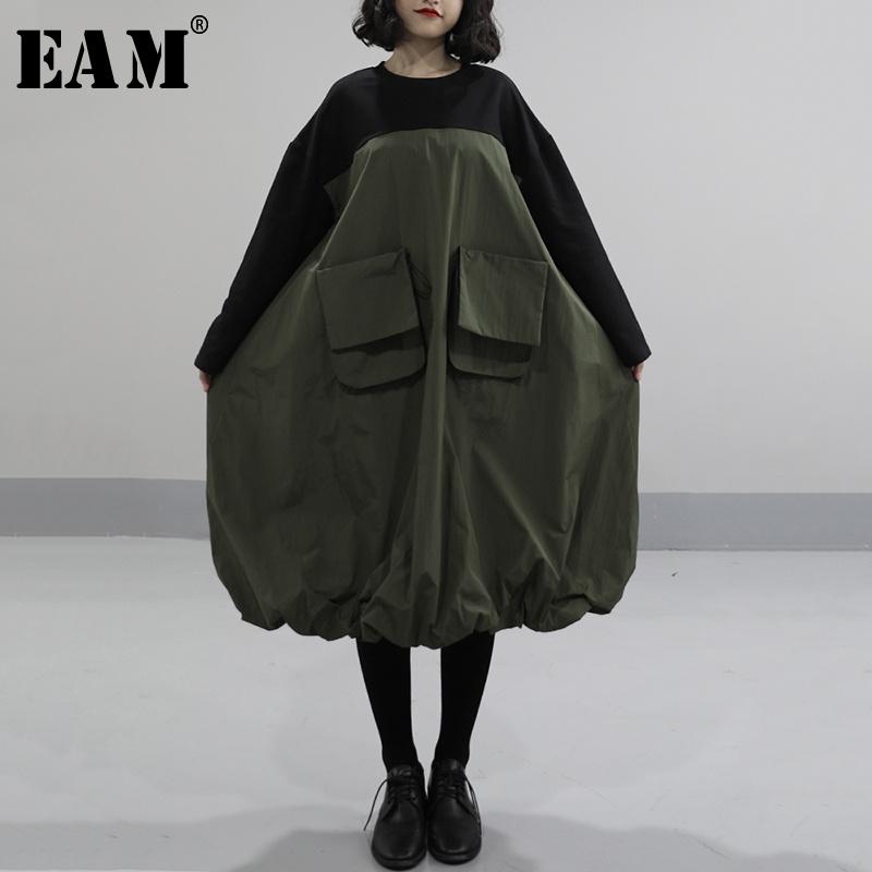 [EAM] Women Army Green Pocket Split Joint Dress New Round Neck Long Sleeve Loose Fit Fashion Tide Spring Autumn 2020 1N585