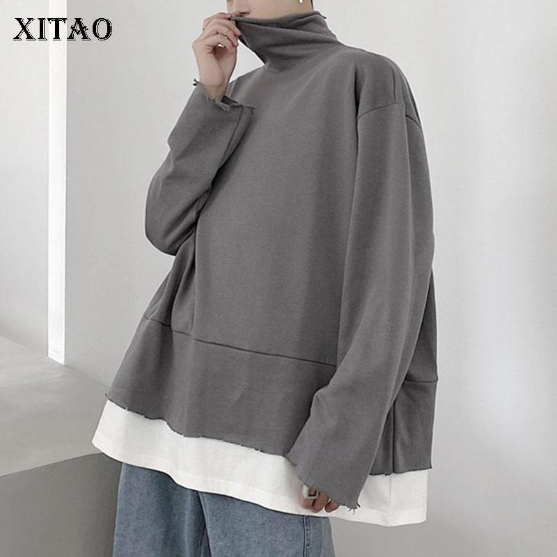 XITAO False Two Piece Sweatshirt Fashion Women Pullover Loose Full Sleeve 2020 Autumn Elegant Minority Loose Sweatshirt ZP2240 1