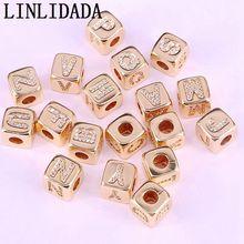 Sprzedaż hurtowa 20 sztuk złota kwadratowych Pave biały Cz alfabet litera A Z urok DIY luźne koraliki do akcesoria do wyrobu biżuterii