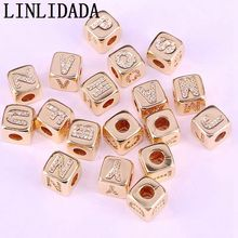 Wholesale 20Pcs Gold Square Pave White Cz Alphabet Letter A   Z Charm DIY Loose Beads For Jewelry Making Accessories
