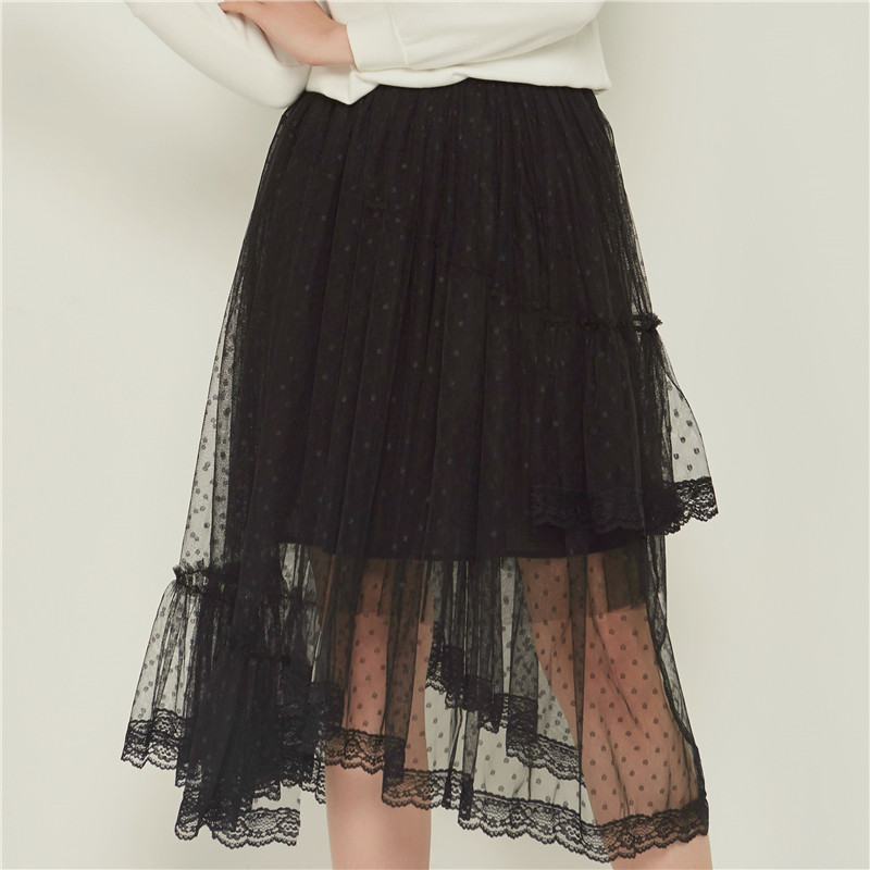 Party Train Spring Leopard Irregular Cupcake Layered Mesh Long Skirt Womens Sexy Pleated Tiered Tulle Maxi Long Skirts Gray