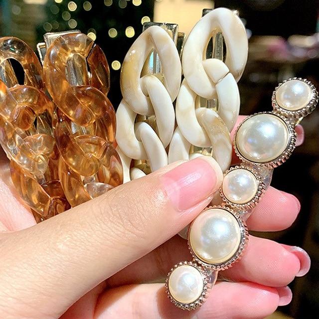 2 pièces/ensemble Vintage perle acrylique chaîne pinces à cheveux mignon mode femmes bec de canard Barrettes épingles à cheveux Chic chapeaux
