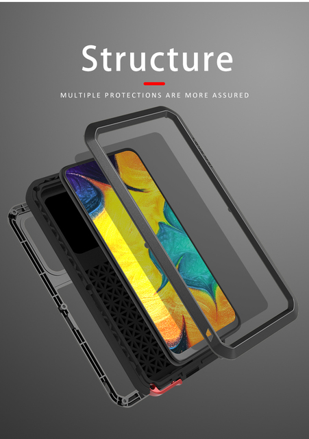 Aşk MEI samsung kılıfı Galaxy A30 A30S A50 A50S A70 A70S güçlü Metal zırh şok kir geçirmez su telefon kılıfları a40s A20