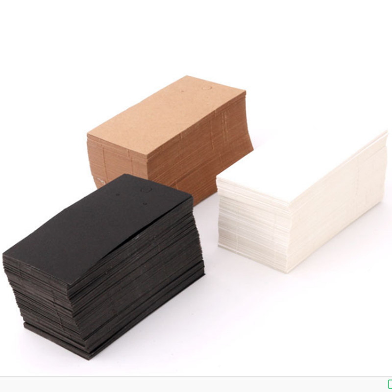 100Pcs 5 X 9Cm Kraft Paper Blank Jewelry Display Card Cardboard Earring Package Hang Tag Card Brown Gift Packaging