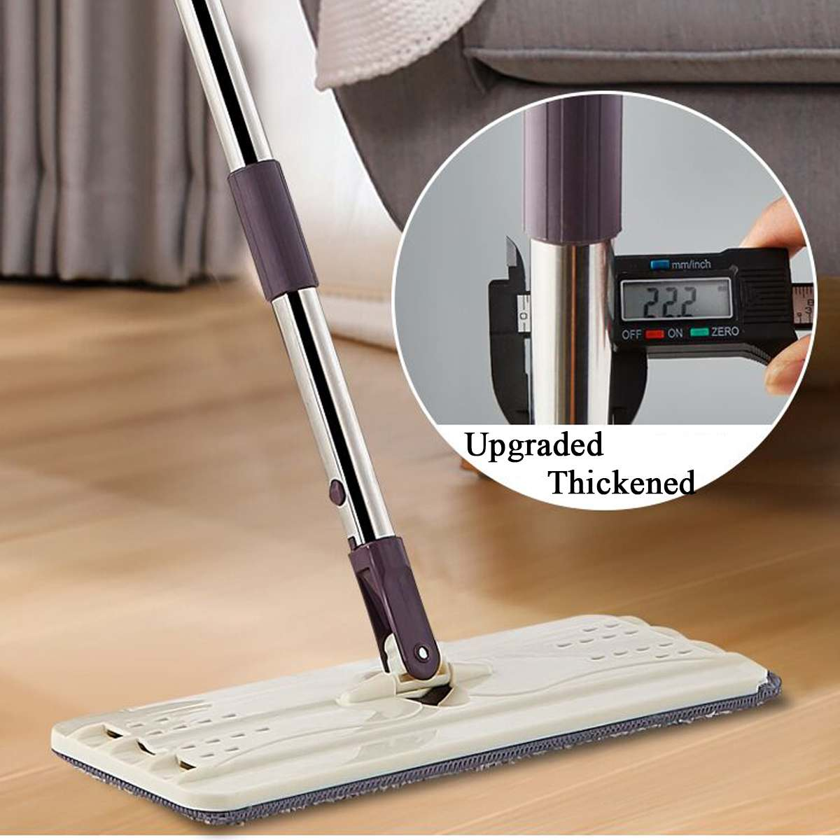 Hand-Free Spin Mop for Automatic Wet or Dry Mopping in 360-Degree Rotation Structure Design 2