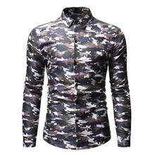 Camouflage Mens Shirt Long sleeve Lapel Collar Casual Blouse Men New Social for Male