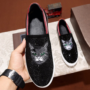 Men Casual Shoes Genuine Leather Shoes Men's Loafers Flat Heel Shiny Crystal Decor Slip On Flats Boat Shoes Moccasins Emboridery