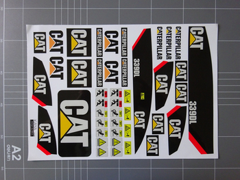 Excavator Toy Body Shell Waterproof Stickers Decal For Car 1:12 1:14 1:16 Scale Caterpillar-Excavator Hydraulic Model Parts