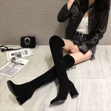 Winter Boots Women Over the Knee  Female Flock Sexy High Thigh Ladies Heel Fashion
