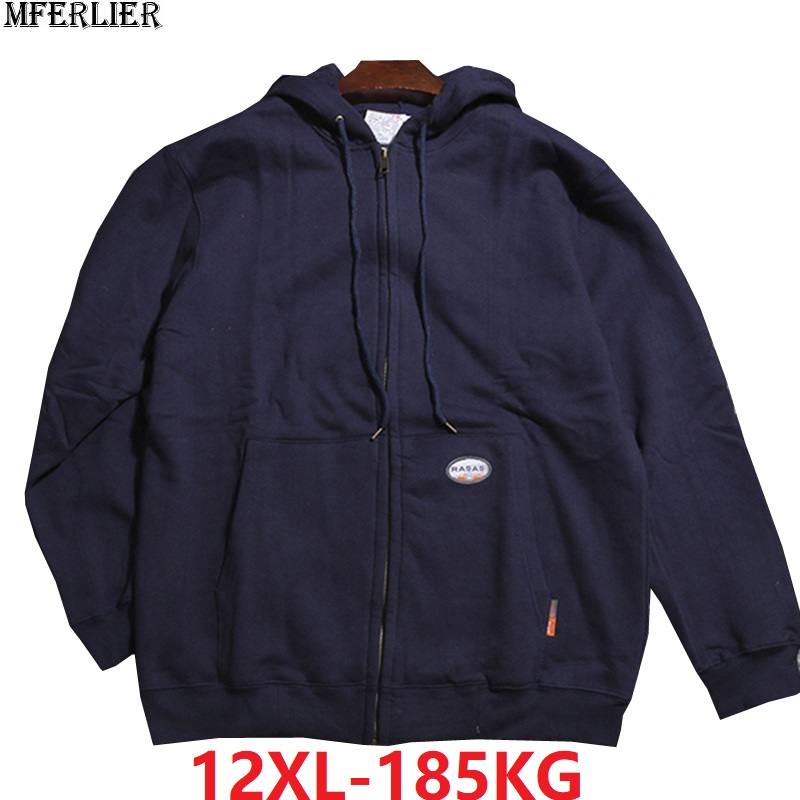 Large Size 10XL 11XL 12XL Spring Men Hooded Fleece Winter Sports Sweatshirt Warm Zipper 8XL Hoodies Oversize Coat 150KG 160KG