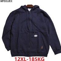 large size 10XL 11XL 12XL winter men hooded fleece Sweatshirt warm zipper 8XL hoodies oversize sports coat 150KG 160KG 170KG 64