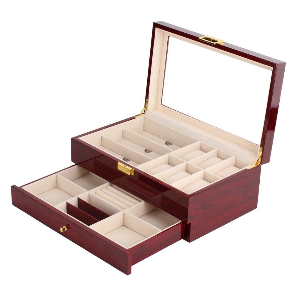 Double couches en bois bijoux montre boîte montre boîte de rangement montre affichage fente boîtier boîte à l'intérieur du conteneur organisateur boîte