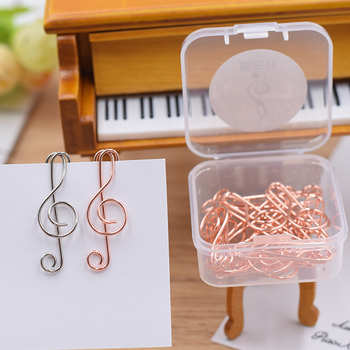 цена на Metal Note Paper Clip Music note Bookmark High Note Bookmark Planner Clips Mini Clip Rose Gold Papelaria Rosegold Metal Clips