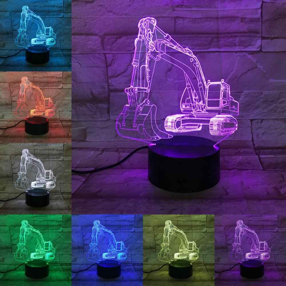 Techniek Voertuig 3D Auto Model Lamp 7 Kleuren Veranderen LED Lamp Nachtlampje Touch Remote Lampara Graafmachine Bulldozer Jongens Geschenken