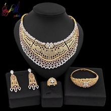 Yulaili Trendy Zinc Alloy Big Necklaces Pendant Earrings for Women Nigerian Zircon Wedding Dubai Jewelry Set Accessories Bijoux
