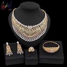 Yulaili Trendy Zinklegering Grote Kettingen Hanger Oorbellen voor Vrouwen Nigeriaanse Zirkoon Bruiloft Dubai Sieraden Set Accessoires Bijoux