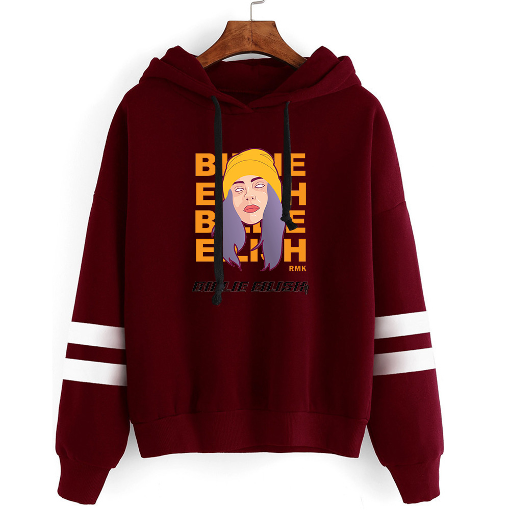 Dark Red Hooded Billie Eilish Hoodie Non Bag Bar Long Sleeve Hoodies Women Men Sweatshirts Autumn Hoodie Boys Girls Pullovers