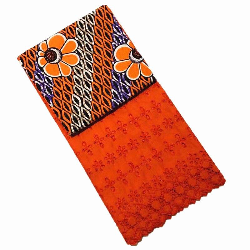 En gros! Tissu de cire hollandaise de cire de coton africain de 3 Yards + 2.5Yards tissu de dentelle de Voile suisse brodé bleu nouveau Design de fleurs - 4