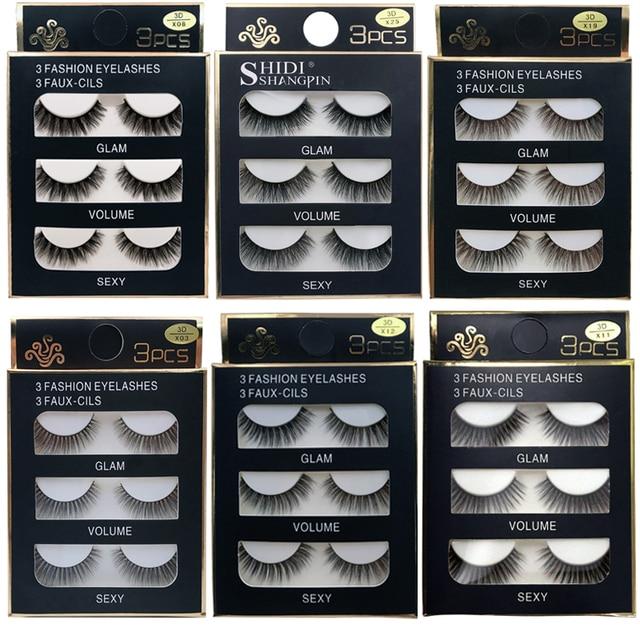 SHIDISHANGPIN 3 pairs 29 styles 3D Faux Mink Hair Soft False Eyelashes Fluffy Wispy Thick Lashes Handmade Lash Eye Makeup Tools 1