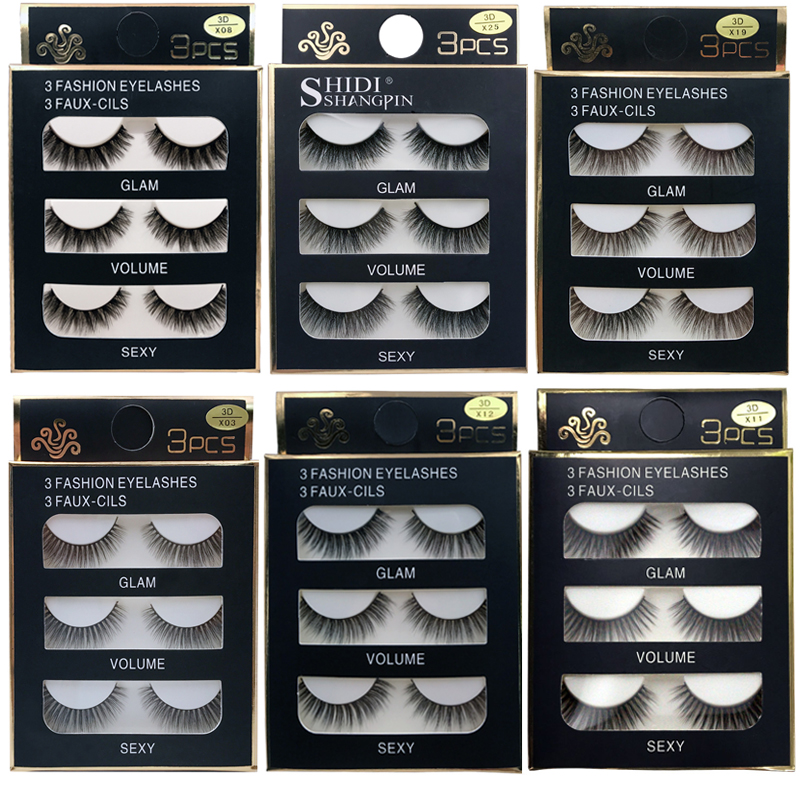 SHIDISHANGPIN 3 Pairs 30 Styles 3D Faux Mink Hair Soft False Eyelashes Fluffy Wispy Thick Lashes Handmade Lash Eye Makeup Tools