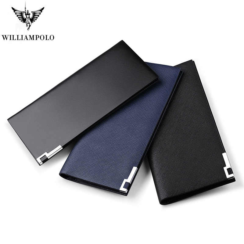 Men Genuine Leather Long Thin Clutch Wallet WILLIAMPOLO 13 Credit Card And Business Card Holder Fashion Slim Purse Minimalist