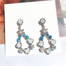 AE-CANFLY 2019 New Elegant Blue Shiny Crystal Waterdrop Dangle Earrings For Women Party Luxury Pendientes Jewelry Gifts