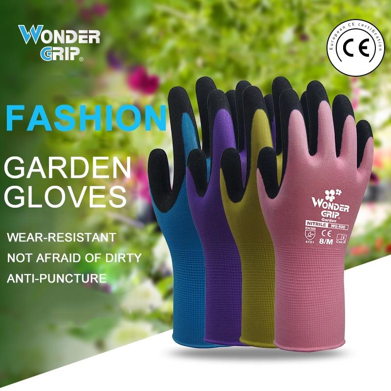 Luvas de jardim anti-derrapante, luvas com aderência maravilha, fácil de cavar e proteger plantas, luvas para poda de rosa