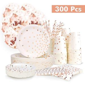 Image 1 - 300 Pieces Rose Gold Paper Party Supplies Disposable Paper Plate Cutlery Set Rose Gold Dot Hot Stamping Plate