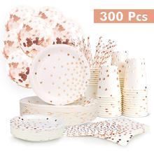 300 قطع ارتفع الذهب ورقة لوازم الحفلات طبق ورقي للاستعمال مرة واحدة مجموعة أدوات المائدة ارتفع الذهب نقطة الساخن ختم لوحة