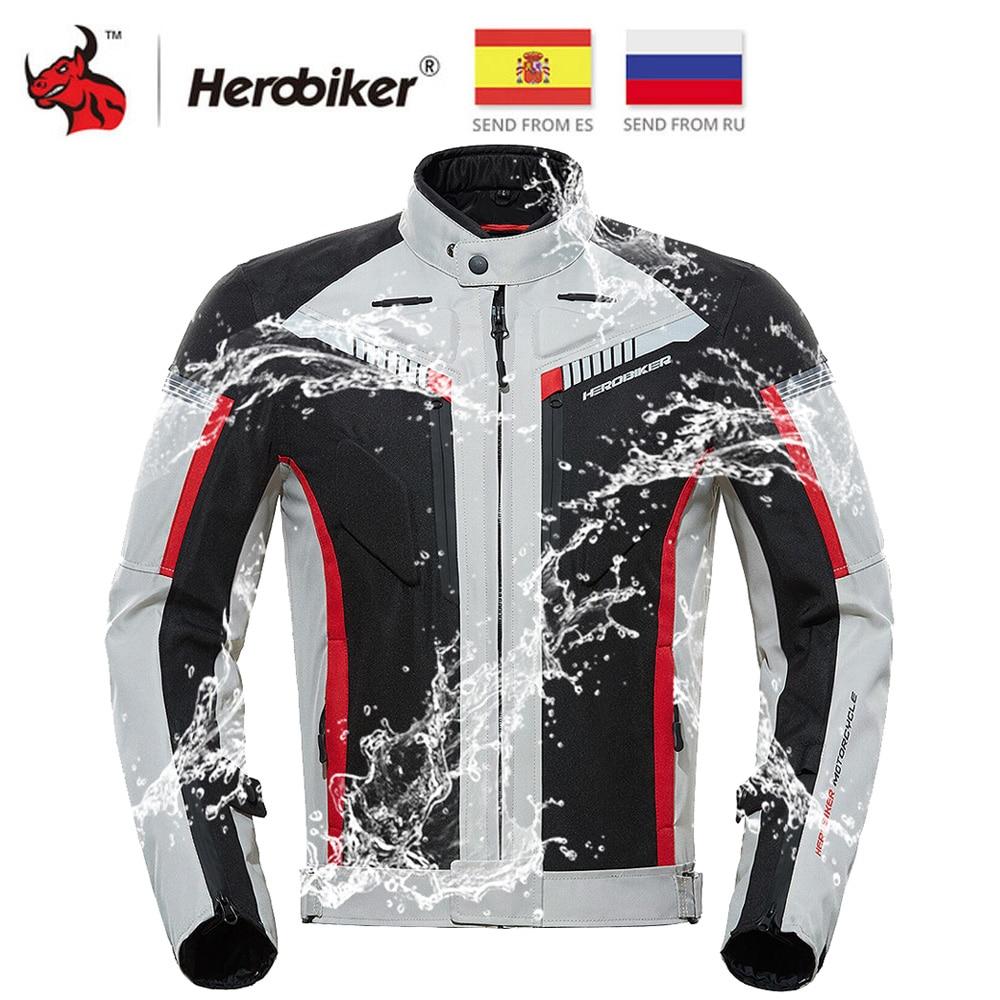 HEROBIKER SPRING Autumn  Motorcycle Jacket Men Waterproof Windproof Moto Jacket Riding Racing Motorbike Clothing Protective Gear