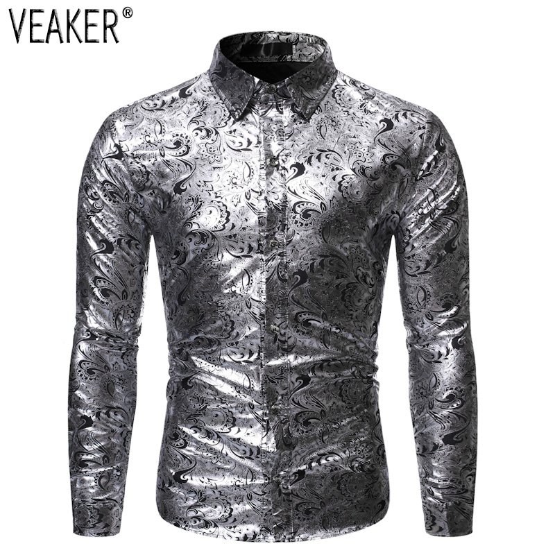 2019 New Men's Silk Satin Floral Printed Shirt Male Long Sleeve Slim Fit Print Casual Shirts Male Party Nightclub Shiny Tops