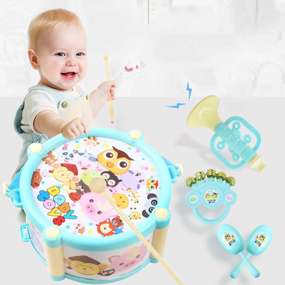 Kuulee Hammer Speakers Instruments Kit Drum Sand Hammer Horn Kits For Babies Plastic Sand Hammer Infants 0-3 Years Old