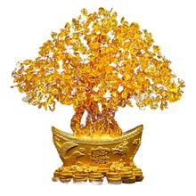 Счастливое дерево для денег, китайское золото, слиток, хрустальное дерево для удачи, украшение для дома и офиса, настольное украшение