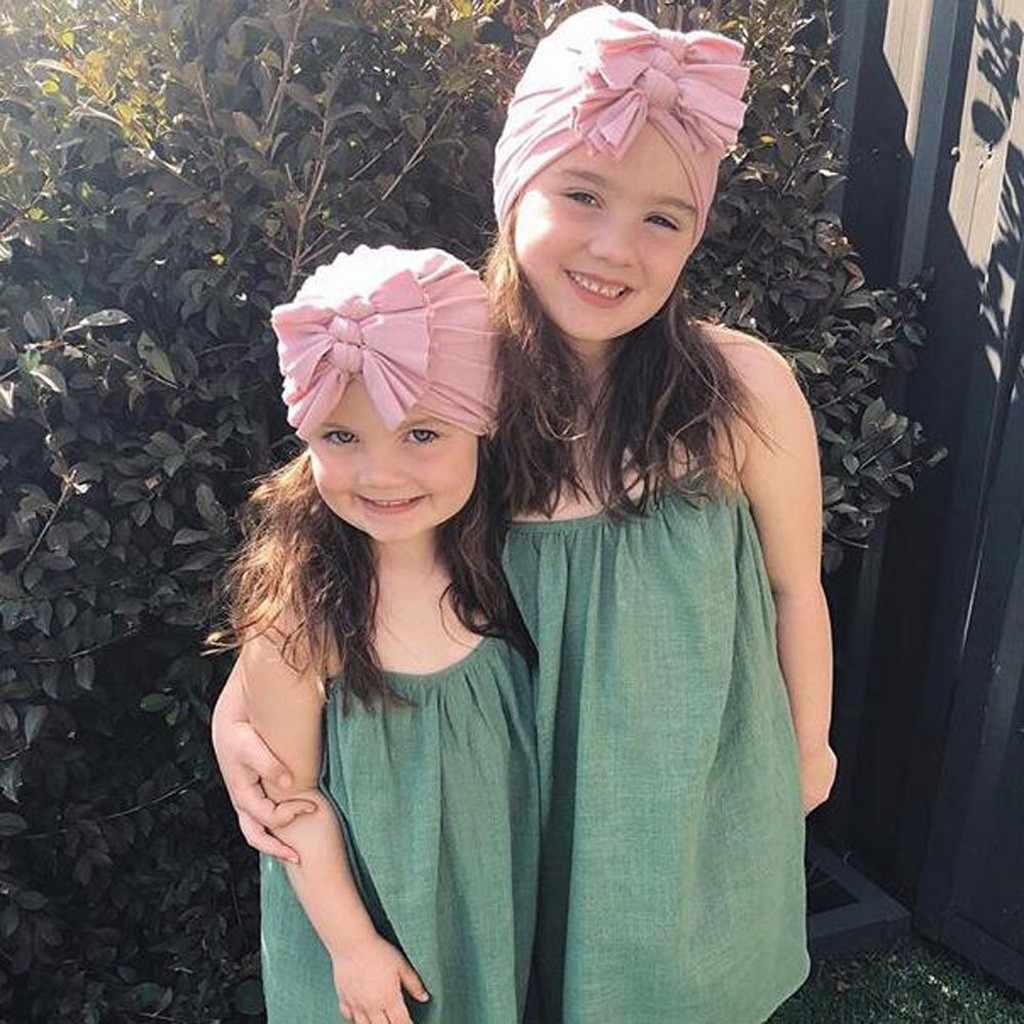 Bebé natación sombrero indio sombrero con lazo Niña niños moda Color sólido lindo sombrero caramelo Color sólido cálido gorro Hospital invierno gorra