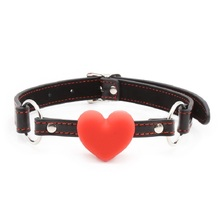 Flirting Sexy Lingerie PU Leather Open Mouth Gag Harness Ball Heart Shape Couple Oral Sex Exotic Accessories for Woman