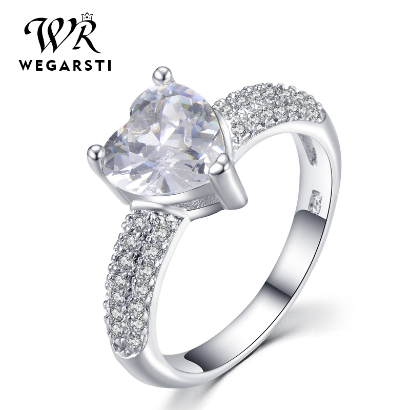 WEGARASTI Silver 925 Jewelry Ring Aquamarine Trendy Heart Zircon Classic 925 Sterling Silver Rings Jewelry Woman Engagement Gift