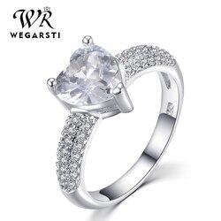WEGARASTI gümüş 925 takı yüzük akuamarin moda kalp zirkon klasik 925 ayar gümüş yüzük takı kadın nişan hediye