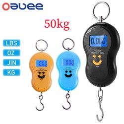 Цифровые Мини-весы Oauee, 50 кг, для рыбалки, багажа, путешествий