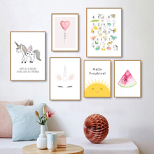 Decor Pictures Canvas Posters Rainbow Wall-Art Painting Kids Print Baby Nursery Children Bedroom