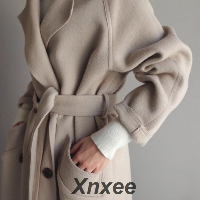 Xnxee Office Lady Solid Womens Long Coats 2019 Winter Wide-waisted Wool Blend Coat and Jacket Turn-down Collar Ladies Coats
