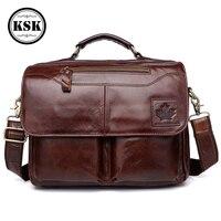 Men's Genuine Leather Bag Briefcase Office Bags For Men Leather Laptop Bag Shoulder Bags Fashion Hasp Male Luxury Handbag KSK