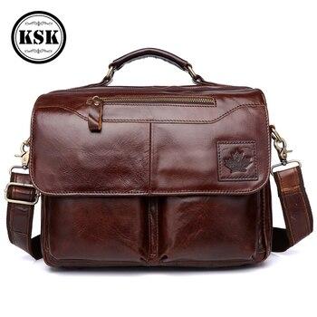 Männer Echte Leder Tasche Aktentasche Büro Taschen Für Männer Leder Laptop Tasche Schulter Taschen Mode Haspe Männlichen Luxus Handtasche KSK