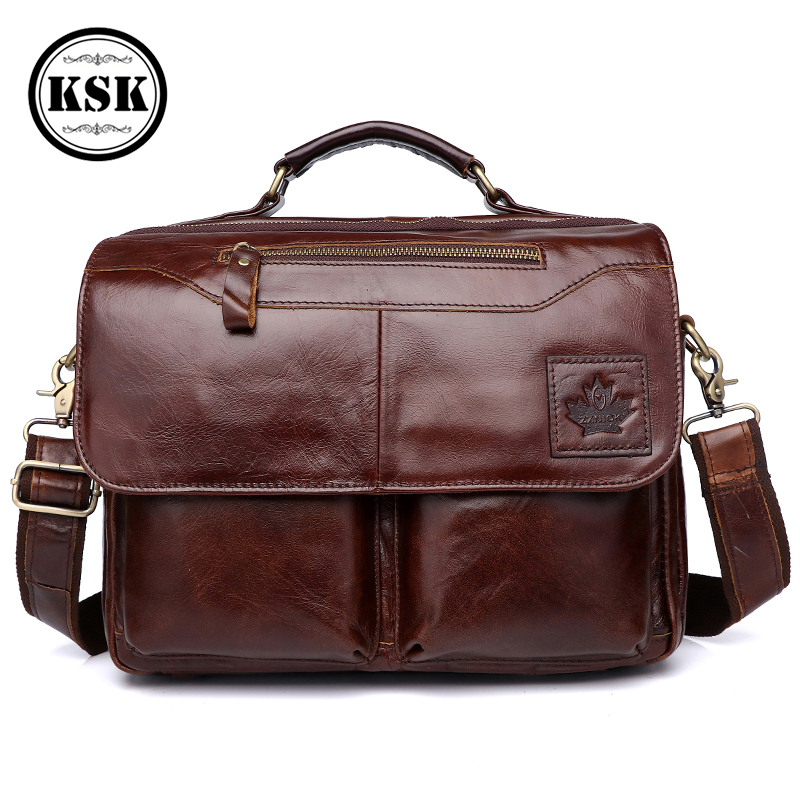 Men's Genuine Leather Bag Briefcase Office Bags For Men Leather Laptop Bag Shoulder Bags Fashion Hasp Male Luxury Handbag KSK