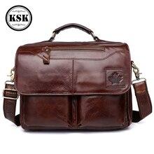 Mens Genuine Leather Bag Briefcase Office Bags For Men Laptop Shoulder Fashion Hasp Male Luxury Handbag KSK