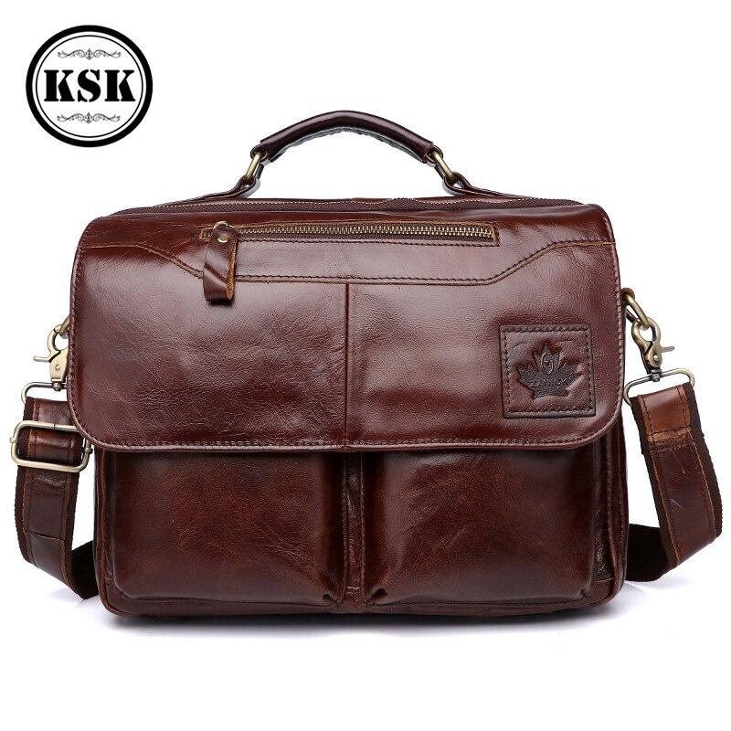 Sac en cuir véritable pour hommes porte-documents sacs de bureau pour hommes en cuir pochette d'ordinateur sacs à bandoulière mode moraillon mâle sac à main de luxe KSK