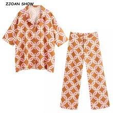 2020 Summer Orange Geometric Plaid Print Shirt High Waist Wide Leg Pants Women Half Bat Sleeve Blous